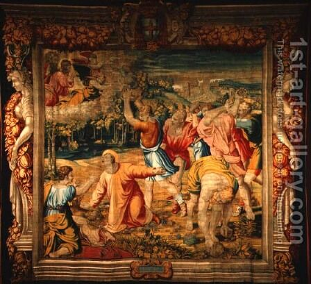 St. Stephen, woven at the Louvre workshop of Jean Lefevre, 1655-61 by (after) Raphael (Raffaello Sanzio of Urbino) - Reproduction Oil Painting