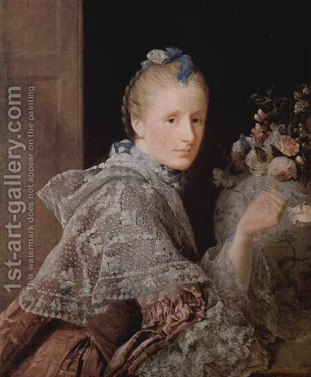 The painters wife, Margaret Lindsay, 1754-55 by Allan Ramsay - Reproduction Oil Painting