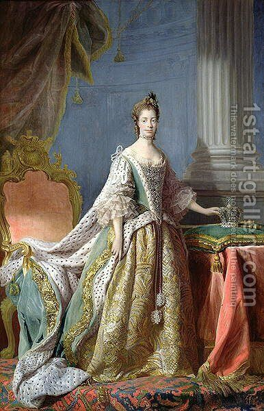 Queen Charlotte 1744-1818 by Allan Ramsay - Reproduction Oil Painting
