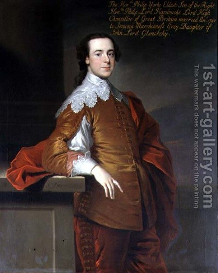 Portrait of the Honourable Philip Yorke 1720-90 1741 by Allan Ramsay - Reproduction Oil Painting