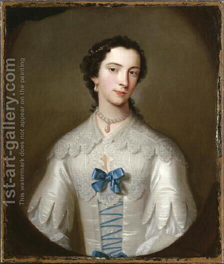 Portrait of a Lady, thought to be a member of the Cholmondeley family, c.1740 by Allan Ramsay - Reproduction Oil Painting