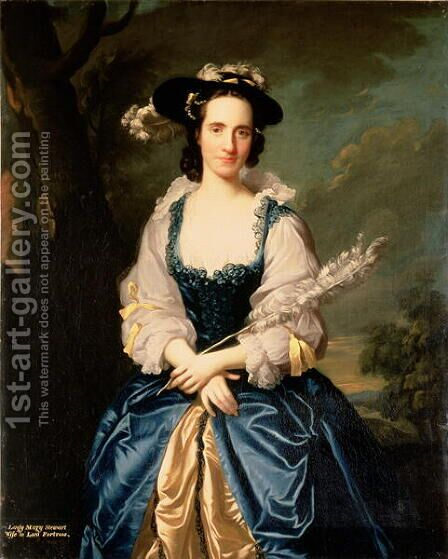 Portrait of Lady Mary Stewart 1720-51 Wife of Kenneth Mackenzie, Lord Fortrose, 1749 by Allan Ramsay - Reproduction Oil Painting