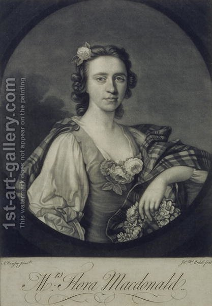 Flora MacDonald 1722-90, engraved by James Mc Ardell by Allan Ramsay - Reproduction Oil Painting