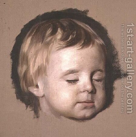 Sketch of a dead childs head by Allan Ramsay - Reproduction Oil Painting