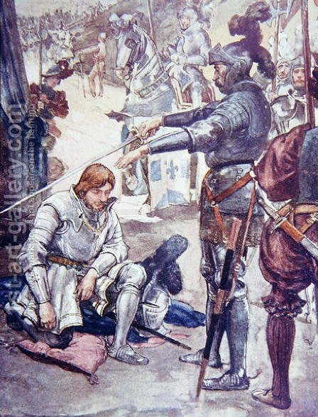Taking his sword, he said Please God, Sir, that in war you may never take flight, illustration from The Story of France Told to Boys and Girls by Mary MacGregor, 1920 by (after) Rainey, William - Reproduction Oil Painting