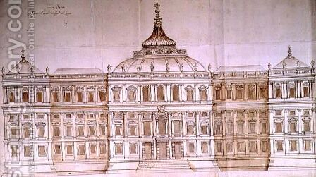 Second Design for the Principal Facade of the Louvre by Carlo Rainaldi - Reproduction Oil Painting