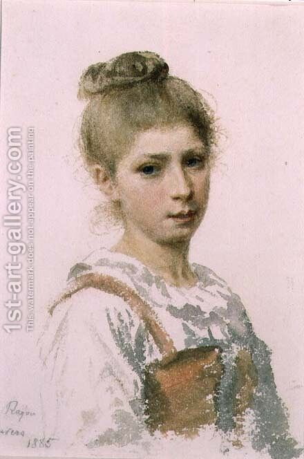 Portrait of a Young Girl, 1885 by Adolphe Ragon - Reproduction Oil Painting