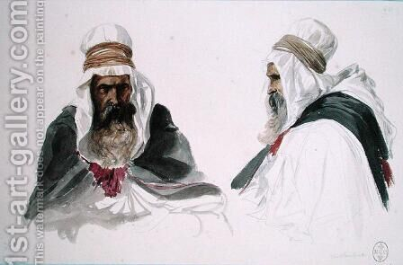 Double Study of a Seated Arab, from Album Algerie et Camp de Compiegne, 1875 by Auguste Raffet - Reproduction Oil Painting