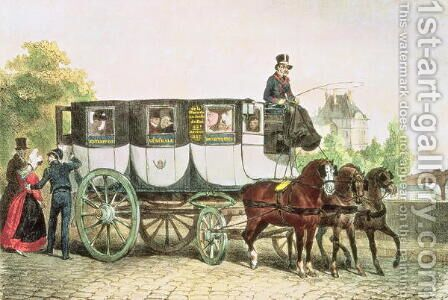 Entreprise Generale des Omnibus, coach from Monnaie to Jardin du Roi, c.1815 by Auguste Raffet - Reproduction Oil Painting