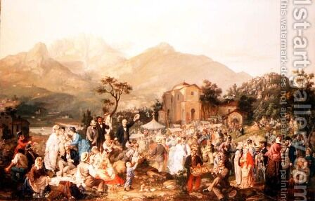 An Alpine Fete by Casimiro Radice - Reproduction Oil Painting