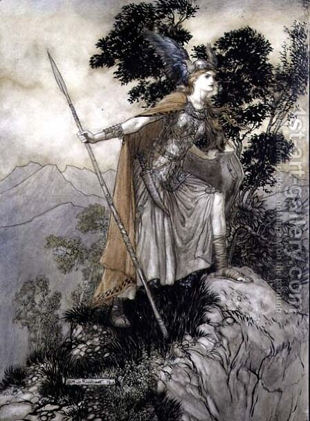 Brunhilde, illustration from The Rhinegold and the Valkyrie by Richard Wagner, 1910 by Arthur Rackham - Reproduction Oil Painting