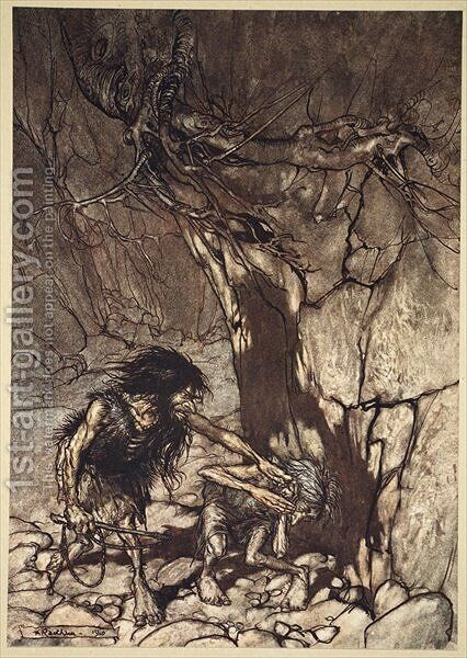 Mime howling Ohe Ohe Oh Oh, illustration from The Rhinegold and the Valkyrie, 1910 by Arthur Rackham - Reproduction Oil Painting