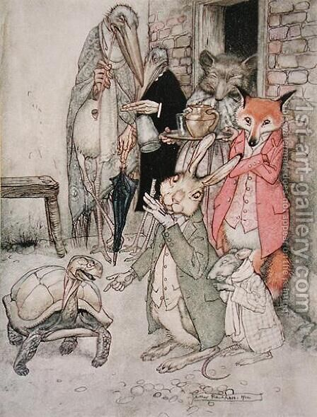 The Hare and the Tortoise, illustration from Aesops Fables, published by Heinemann, 1912 by Arthur Rackham - Reproduction Oil Painting