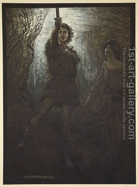 Siegmund the Walsung thou does see As bride gift he brings thee his sword', illustration from The Rhinegold and the Valkyrie, 1910 by Arthur Rackham - Reproduction Oil Painting
