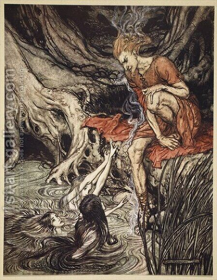 The Rhines pure gleaming children told me of their sorrow, illustration from The Rhinegold and the Valkyrie, 1910 by Arthur Rackham - Reproduction Oil Painting