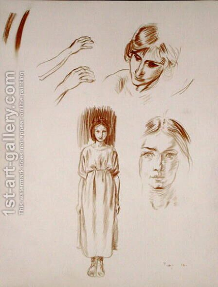 Studies of a woman, of faces and of hands by Arthur Rackham - Reproduction Oil Painting