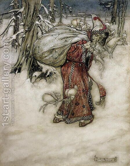 Santa Claus, illustration from Arthur Rackhams Book of Pictures, 1907, published 1913 by Arthur Rackham - Reproduction Oil Painting