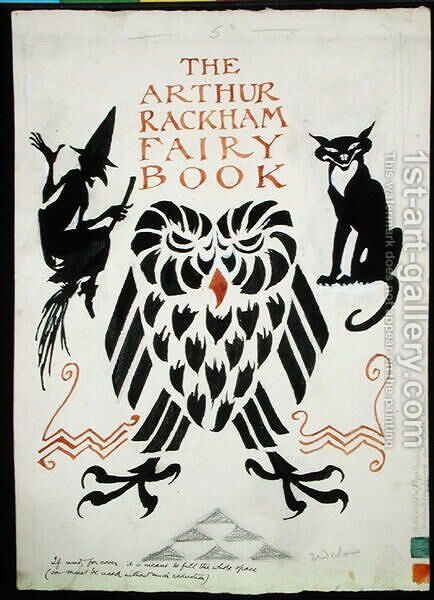 An Owl, a Witch and her Cat, front cover for The Arthur Rackham Fairy Book, published 1933 by Arthur Rackham - Reproduction Oil Painting