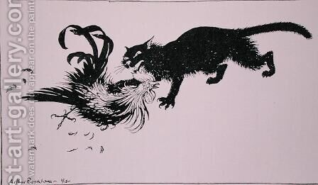 The Cat and the Cock, illustration from Aesops Fables, published by Heinemann, 1912 by Arthur Rackham - Reproduction Oil Painting