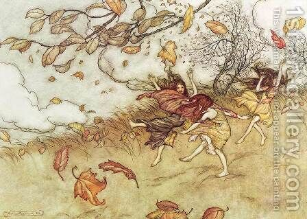 Autumn Fairies from Peter Pan in Kensington Gardens by J.M. Barrie, 1906 by Arthur Rackham - Reproduction Oil Painting