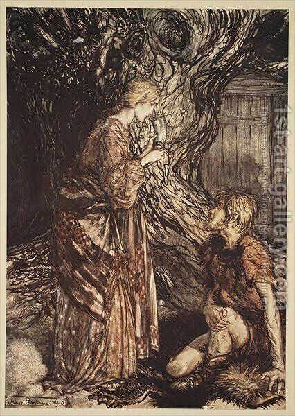 This healing and honeyed draught of Mead deign to accept from me, from The Rhinegold and the Valkyrie, 1910 by Arthur Rackham - Reproduction Oil Painting