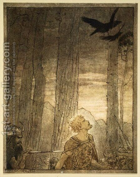 Siegfrieds death, illustration from Siegfried and the Twilight of the Gods, 1924 by Arthur Rackham - Reproduction Oil Painting
