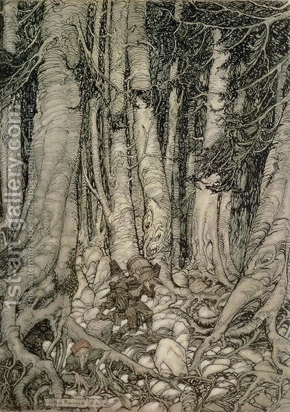 In the Forest with a Barrel from Rip Van Winkle written by Washington Irving 1783-1859, 1905 by Arthur Rackham - Reproduction Oil Painting