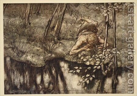 Siegfried sees himself in the stream, illustration from Siegfried and the Twilight of the Gods, 1924 by Arthur Rackham - Reproduction Oil Painting