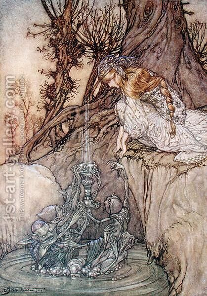 The enchanted goblet, c.1908 by Arthur Rackham - Reproduction Oil Painting