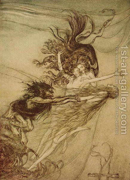 The Rhinemaidens teasing Alberich from The Rhinegold and The Valkyrie by Richard Wagner, 1910 by Arthur Rackham - Reproduction Oil Painting