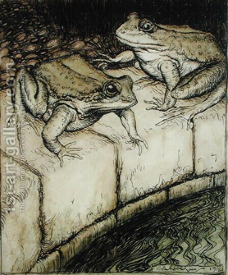 The Frogs and the Well, illustration from Aesops Fables, published 1912 by Arthur Rackham - Reproduction Oil Painting