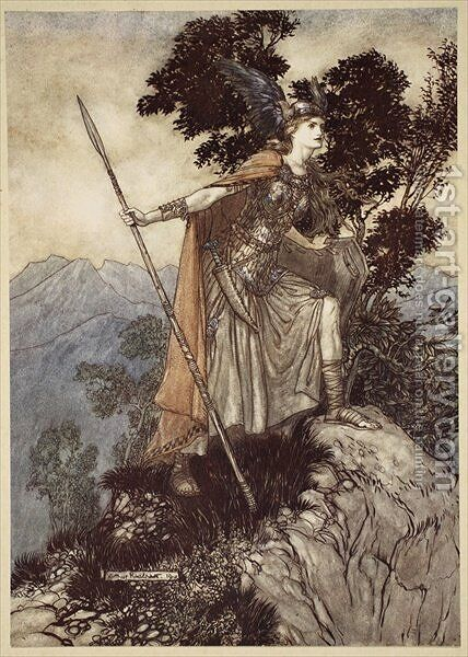 Brunnhilde, from The Rhinegold and the Valkyrie, 1910 by Arthur Rackham - Reproduction Oil Painting