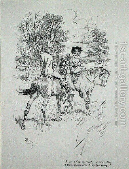 I seized the opportunity of prosecuting my acquaintance with Miss Dashwood, illustration from The Irish Dragoon by Charles OMalley, published 1897 by Arthur Rackham - Reproduction Oil Painting