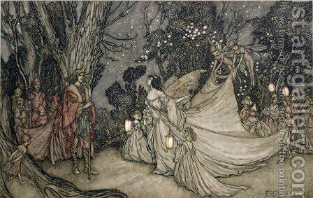 The Meeting of Oberon and Titania, 1905 by Arthur Rackham - Reproduction Oil Painting