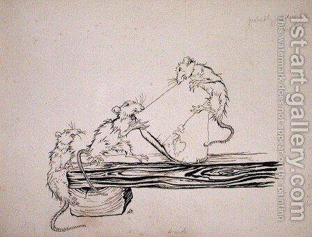 Rats...ate the cheese out of the vats, illustration from The Pied Piper of Hamelin, version by Robert Browning, published 1934 by Arthur Rackham - Reproduction Oil Painting