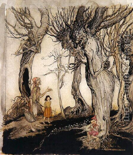 The trees and the axe, from Aesops Fables, c.1912 by Arthur Rackham - Reproduction Oil Painting