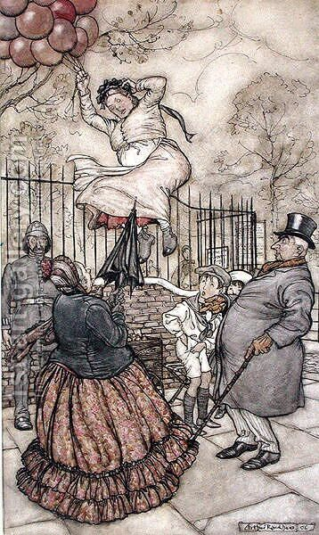 Balloons, illustration from Peter Pan in Kensington Gardens, by J.M Barrie, published 1906 by Arthur Rackham - Reproduction Oil Painting