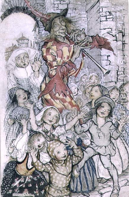 The Pied Piper of Hamelin, illustration for the poem by Robert Browning 1812-89 pub. 1934 by Arthur Rackham - Reproduction Oil Painting
