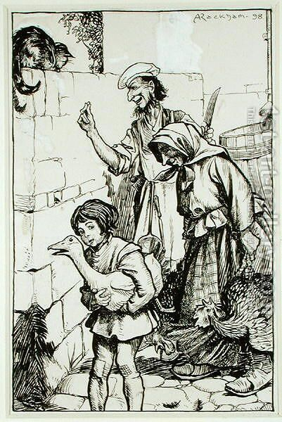 A Tom-Cat of Sir Alured Dennes, illustration from The Ingoldsby Legends, or Mirth and Marvels, by Thomas Ingoldsby, published 1898 by Arthur Rackham - Reproduction Oil Painting