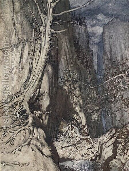 There is a dread Dragon he sojourns, And in a cave keeps watch over Alberichs ring, illustration from The Rhinegold and the Valkyrie, 1910 by Arthur Rackham - Reproduction Oil Painting