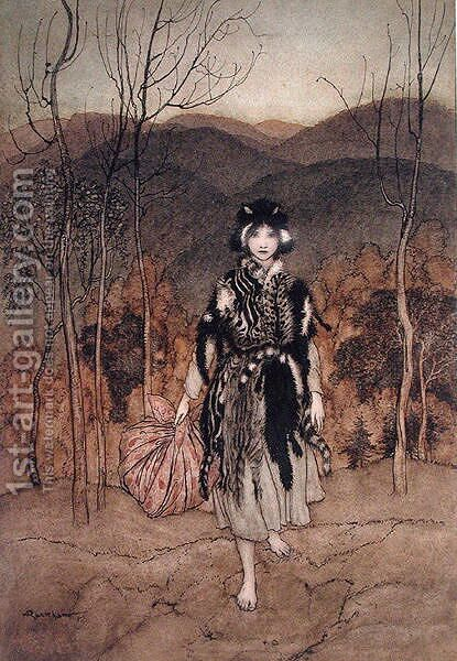She went along, and went along, and went along dressed in catskin', illustration from English Fairy Tales retold by F.A. Steel, published 1918 by Arthur Rackham - Reproduction Oil Painting