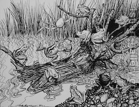 King Log, illustration from Aesops Fables, published by Heinemann, 1912 by Arthur Rackham - Reproduction Oil Painting