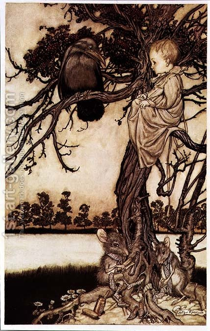 Talking to the Crow from Peter Pan in Kensington Gardens by J.M. Barrie, 1906 by Arthur Rackham - Reproduction Oil Painting