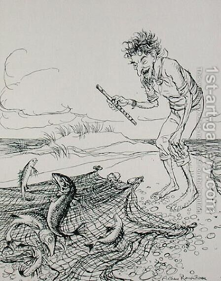 The Fisherman Piping, illustration from Aesops Fables, published by Heinemann, 1912 by Arthur Rackham - Reproduction Oil Painting