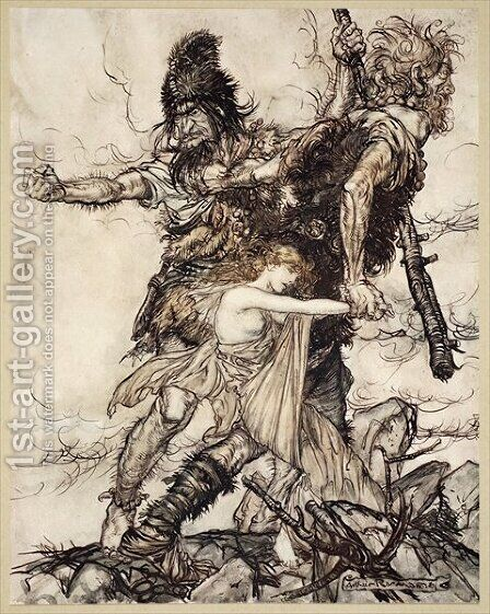 Fasolt suddenly seizes Freia and drags her to one side with Fafner, illustration from The Rhinegold and the Valkyrie, 1910 by Arthur Rackham - Reproduction Oil Painting