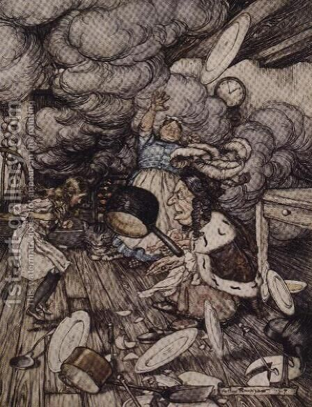 In the Duchesss Kitchen, illustration to Alices Adventures in Wonderland by Lewis Carroll 1832-98 1907 by Arthur Rackham - Reproduction Oil Painting