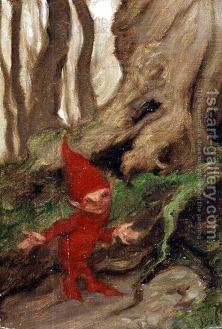 A Gnome by Tree Roots, 1928 by Arthur Rackham - Reproduction Oil Painting