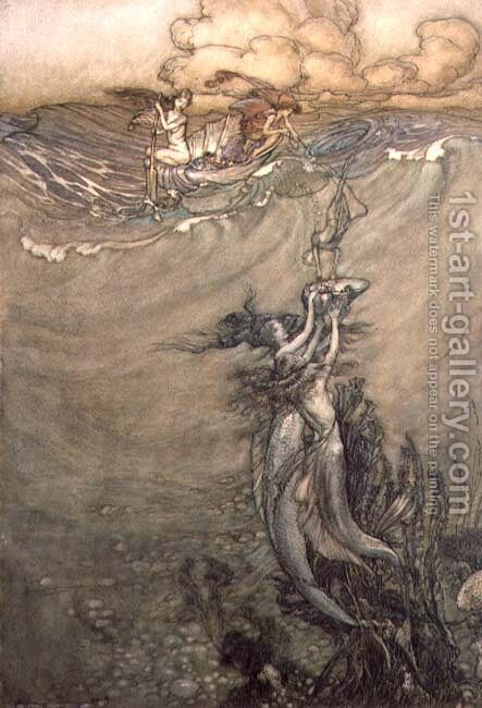 Jewels from the Deep, 1909 by Arthur Rackham - Reproduction Oil Painting