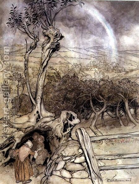 Exactly Where the Rainbow Ends, 1914 by Arthur Rackham - Reproduction Oil Painting
