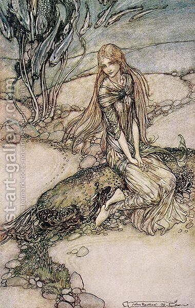 Undine, illustration from the book by Baron Friedrich de la Motte Fouque 1777-1843 1909 by Arthur Rackham - Reproduction Oil Painting